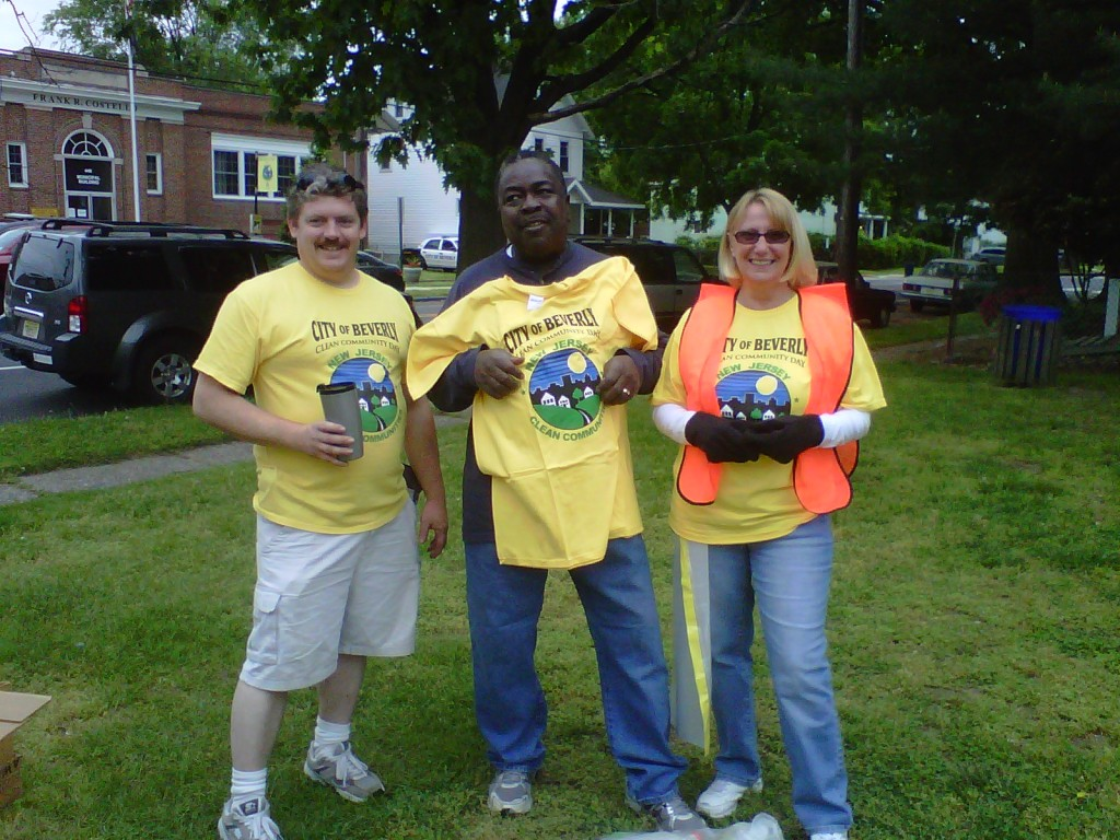 This 'Clean Up Crew' includes the Mayor (center) Randy Miller  with Ryan Atkinson and Georgine Sarro.